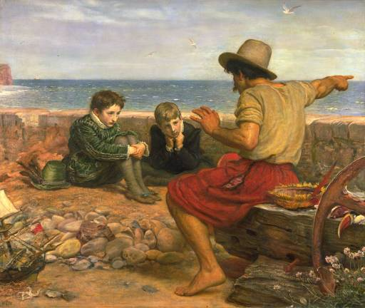 This image has an empty alt attribute; its file name is millais_boyhood_of_raleigh.jpg
